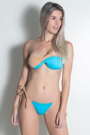Biquini Tomara que Caia 2 Cores e Levanta Bumbum (Azul Celeste / Chocolate) | Ref: DVBQ73-001