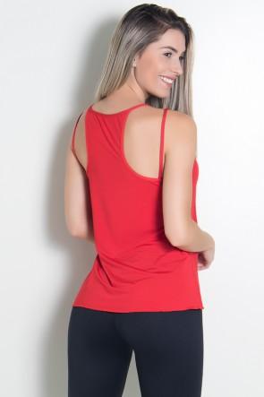 Camiseta de Microlight Nadador com Alça Dupla (Vermelho) | Ref: KS-F1022-009