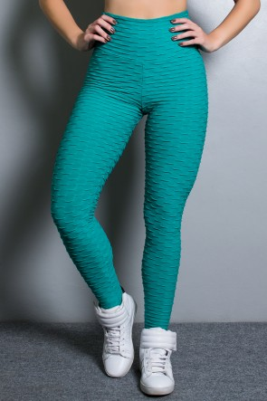 Calça Legging Tecido Bolha (Verde Esmeralda) | Ref: KS-F103-010