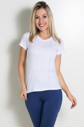 Camiseta de Malha com Ponto de Cobertura (Branco) | Ref: KS-F1034-001