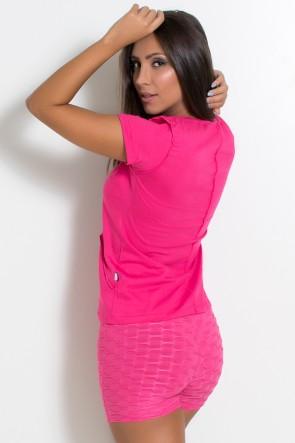 Camiseta de Malha com Ponto de Cobertura (Rosa Pink) | Ref: KS-F1034-002
