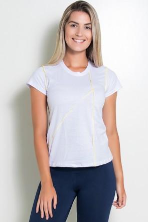 Camiseta de Malha Branca com Ponto de Cobertura | Ref: KS-F1038