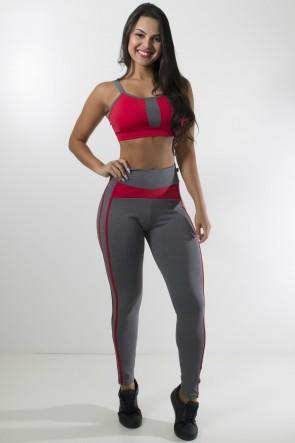 Conjunto Top com Tiras e Legging Mescla (Mescla / vermelho) | Ref: KS-F1107-001