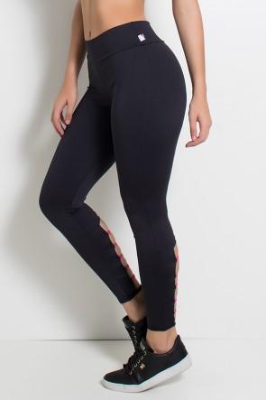 Legging Lisa com Detalhe no Tornozelo (Preto / Rosa Pink) | Ref: F1136-002