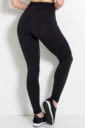 Calça Legging Tecido Bolha Invertida (Preto) | Ref: KS-F119-003
