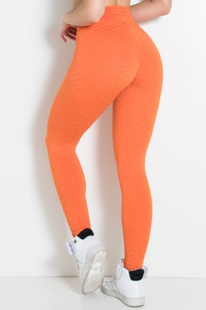 Calça Legging Tecido Bolha Invertida (Laranja) | Ref: F119-005