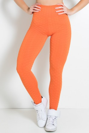 Calça Legging Tecido Bolha Invertida (Laranja) | Ref: KS-F119-005
