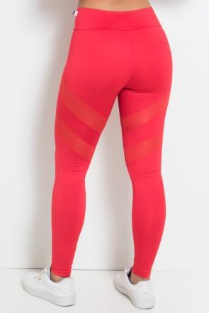 Legging Lisa com Listras Dry Fit (Vermelho) | Ref.: KS-F1274-003