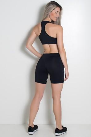 Conjunto Fitness Top + Short Listras (Preto com Branco) | Ref: KS-F1498-001
