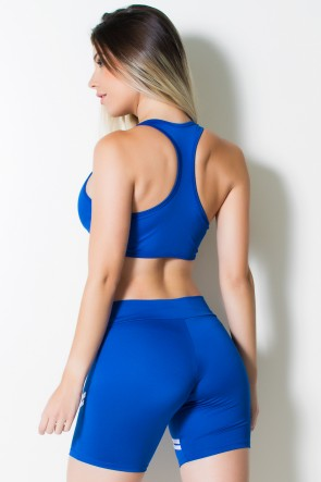 Conjunto Fitness Top + Short Listras (Azul Royal com Branco) | Ref: KS-F1498-004