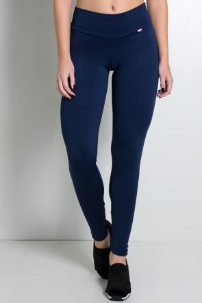 Calça Legging Lisa com Fecho na Perna (Azul Marinho) | Ref: KS-F157-003