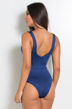 Body Liso com Listra e Recorte nas Costas (Azul marinho / Coral Tandy) | Ref: KS-F1600-002