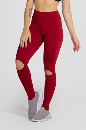 Calça Legging Lisa com Abertura no Joelho (Vinho) | Ref: KS-F1611-002