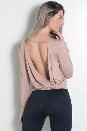 Blusa de Microlight com Decote nas Costas (Chocolate) | Ref: KS-F1612-002