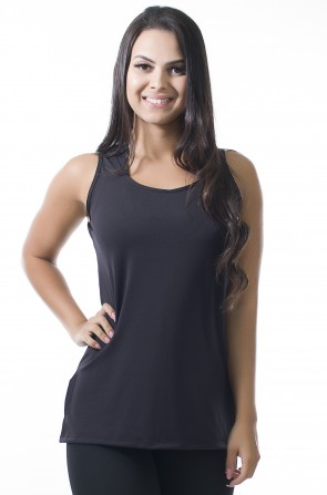 Camiseta de Microlight com Detalhe Lateral (Preto) | Ref: KS-F1662-002