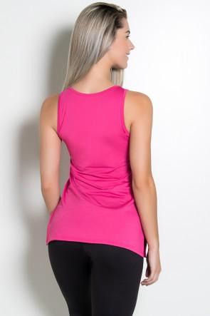 Camiseta de Microlight com Detalhe Lateral (Rosa Pink) | Ref: KS-F1662-006
