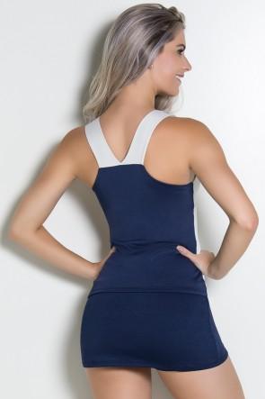 Camiseta Lisa Duas Cores (Branco Gelo / Azul Marinho) | Ref: F1666-001