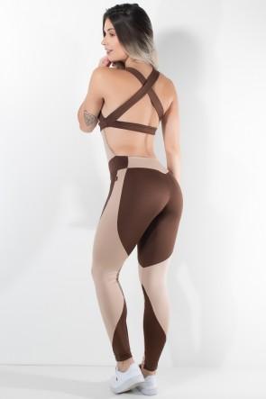 Macacão Duas Cores com Alça Cruzada (Chocolate / Marrom) | Ref: KS-F1677-001