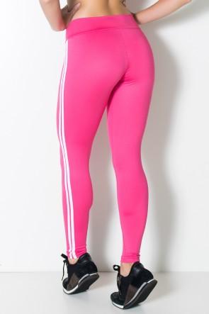 Calça Legging com Listras (Rosa Pink / Branco) | Ref: KS-F17-005