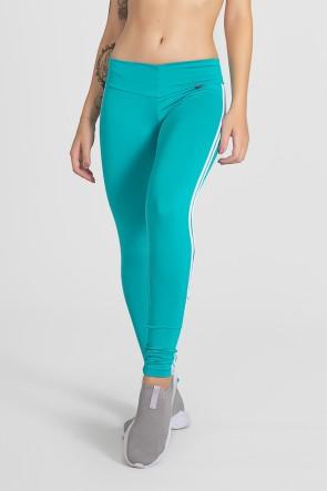 Calça Legging com Listras (Verde Esmeralda / Branco) | Ref: KS-F17-006