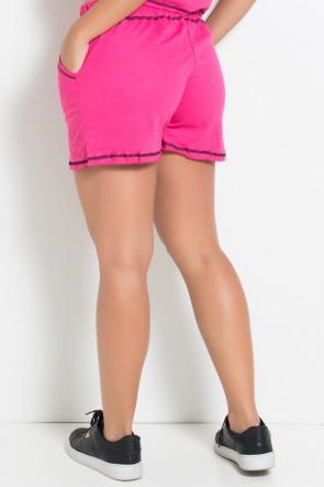 Short de Moletim com Bolso e Ponto de Cobertura (Rosa Pink / Preto) | Ref: KS-F1832-001