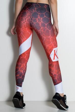 Legging Gris 3D Preto e Vermelho Sublimada | Ref: KS-F1896-001