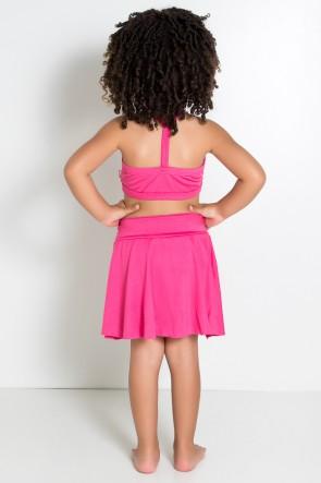 Conjunto Infantil Top + Short Saia Lisos (Rosa Pink) | Ref: KS-F1898-004