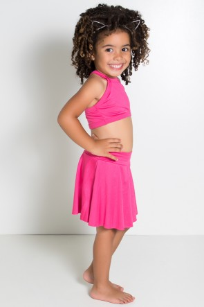 Conjunto Infantil Top + Short Saia Lisos (Rosa Pink)   Ref: KS-F1898-004