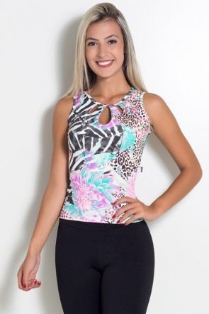 Blusa Estampada Camila (Tigre e Zebra com Flor) | Ref: KS-F194-001