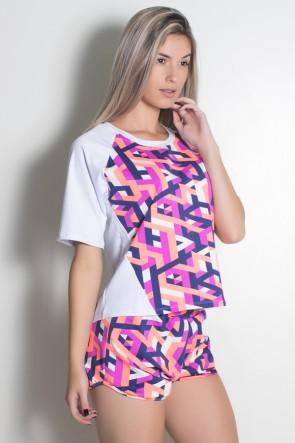 Camisa com Recorte Liso e Frente Estampada (Branco / Traços Azul Marinho Coral e Roxo) | Ref: KS-F1972-001