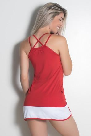 Camiseta Microlight com Alça Dupla Cruzada (Vermelho) | Ref: KS-F1977-001