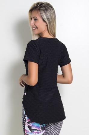 Camiseta Tecido Bolha Fitness Mullet (Preto) | Ref: KS-F199-001