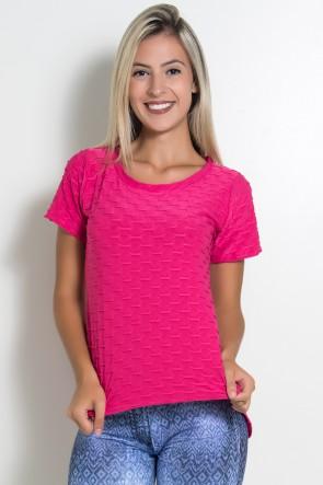 Camiseta Tecido Bolha Fitness Mullet (Rosa Pink) | Ref: KS-F199-002
