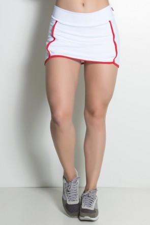 Short Saia Liso com Viés Colorido (Branco / Vermelho) | Ref: KS-F1997-001