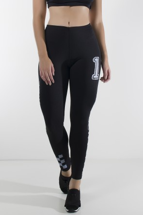 Legging Athletic Ride com Silk (Preto / Branco) | Ref: KS-F2000-001