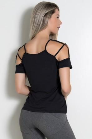 Camiseta de Microlight com Tiras no Ombro (Preto) | Ref: KS-F2020-002