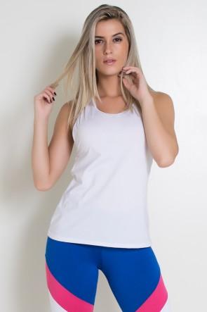 Camiseta de Microlight com Detalhe em Elástico (Branco /Azul Royal) | Ref: KS-F2027-001