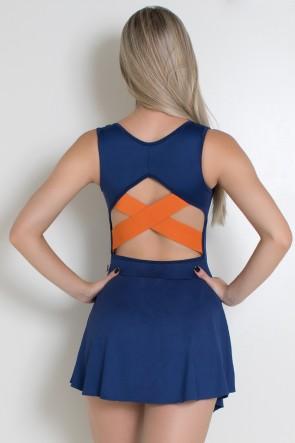 Vestido Liso com X em Elástico nas Costas (Azul Marinho / Laranja) | Ref: KS-F2029-001