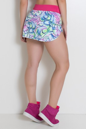 Short Saia Estampado com Cós Liso (Abstrato Rosa Azul e Verde / Rosa Pink) | Ref: KS-F2052-001