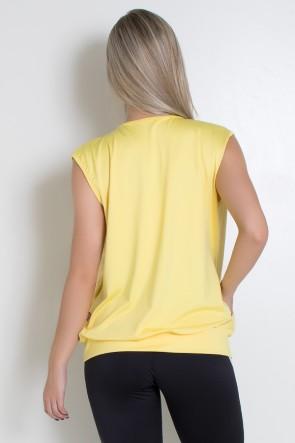 Colete Liso com Fecho Bolso e Detalhe em Microlight (Amarelo Claro) | Ref: KS-F2071-001