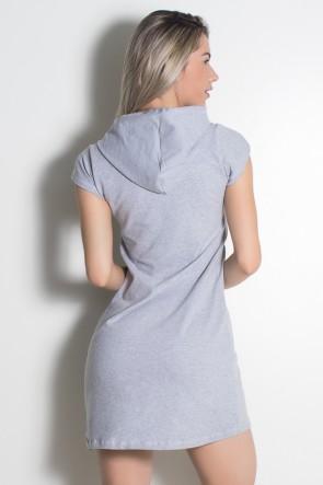 Vestido de Moletim com Capuz e Detalhe com Zíper (Mescla) | Ref: KS-F2084-001