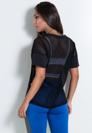 Blusa de Microlight e Tela com Silk (Preto) | Ref: KS-F2125-001