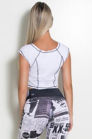 Mini Blusa de Malha com Ponto de Cobertura (Branco / Preto) | Ref: KS-F2148-001