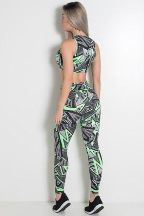 Conjunto Estampado Cropped Anamara + Legging Cós Baixo (Traços Verdes com Figuras) | Ref: KS-F2153-001
