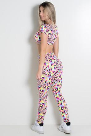 Conjunto Estampado Cropped Clara e Legging Cós Baixo (Triângulos Coloridos Fluorescente) | Ref: KS-F2154-001