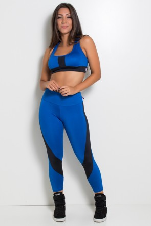 Conjunto Bruna Duas Cores (Azul Royal / Preto) | Ref: KS-F217-002