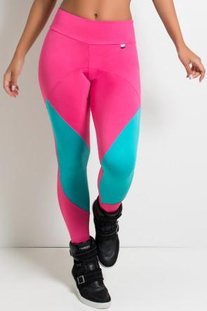 Calça 2 Cores com Recorte (Rosa Pink  / Verde Esmeralda)   Ref: KS-F2188
