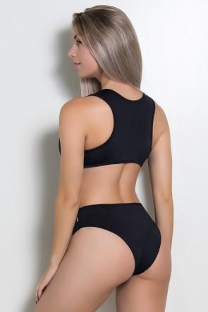 Body Liso Costa Aberta e Detalhe Frontal (Preto) | Ref: KS-F2215-001