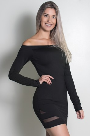 Vestido Manga Longa Liso com Abertura Lateral e Tule (Preto) | Ref: KS-F2217-001
