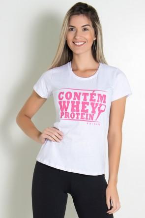 Camiseta Feminina Contém Whey Protein (Branco) | Ref: KS-F224-003